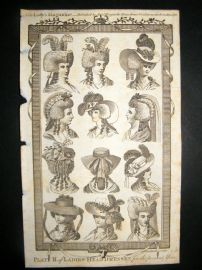 Lady's Magazine 1786 Pre Regency Fashion Print. Ladies Head Dresses